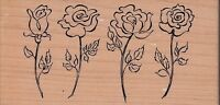 "rose border psx Wood Mounted Rubber Stamp 2 1/2 x 5""  Free Shipping"