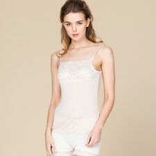 Womens Camisole 100% Silk Knit With Lace