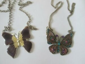 2 BEAUTIFUL ENAMEL AND RHINESTONE BUTTERFLY PENDANT NECKLACES