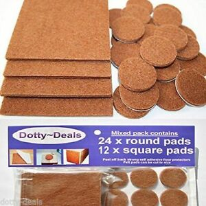 Felt Self Adhesive Pads Protects Wood Vinyl Laminate Floors Mix Pack 12SQ & 24R