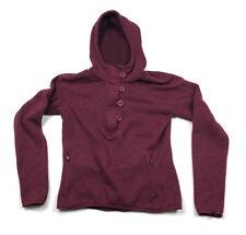 North Face Red Burgundy 1/2-Button Zip Hoodie Fleece Sweater Women's M