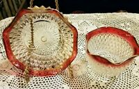 Vtg Indiana Glass Kings Crown Scallop Edge Ruby Red Flash D.P~Candy Dish & Bowl