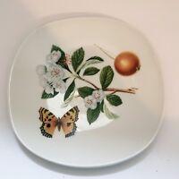 Vintage Josef Kuba Porcelain Plate West Germany Bavaria Butterfly Flowers Floral