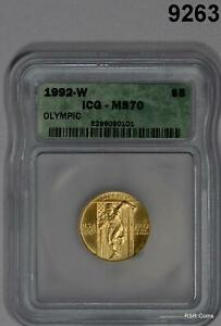 1992 W OLYMPIC $5 GOLD ICG CERTIFIED MS70 PERFECT! #9263