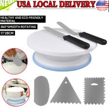 6pcs Cake Decorating Tips Pieces Kit Tools Turntable Stand Baking Supplies Set