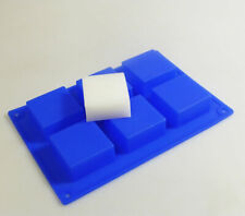 6 cell BLUE Square Silicone Cake Baking Cookie Mould Bar Soap Massage SJK-W009B