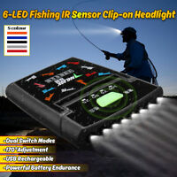 6 LED Clip-on Headlamp Rechargeable Sensor Cap Hat Lamp Headlight Torch Light
