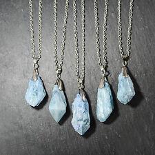 Ghiaccio Blu Guarigione Crystal Quarzo collana- Vintage argento-turchese