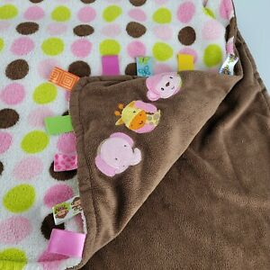 TAGGIES Pink brown MONKEY Dots Circle Baby Security Blanket Lovey Satin Tags