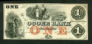 US  OBSOLETE  THE OCOEE BANK CLEVELAND 1 DOLLAR 1859 UNC LESS.