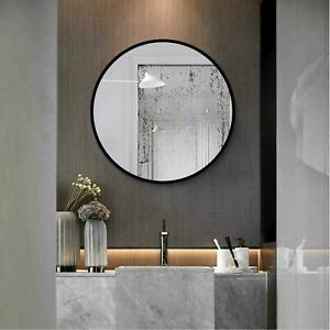 Black Round Retro Mirror Home Decor Wall Bedroom (50cm x 50cm)