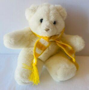 HALLMARK HEARTLINE Teddy Polar Bear Yellow Scarf Plush Toy VINTAGE 1989 22cm
