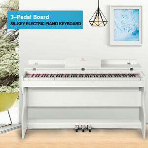 ♬Mustar White Digital Piano 88 Weighted Keys 3 pedals Wooden Stand LCD