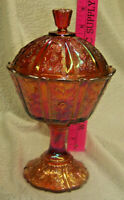 Fenton Carnival iredescent Candy/Compote with lid Marigold