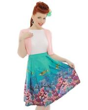 Lindy Bop 8-26 'Marie' Coral Reef Print Swing Skirt Pin Up Turquoise PLUS