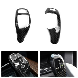Carbon Fiber Style Gear Shift Knob Head Cover Trim For BMW 1 3 5 Series F10 E90