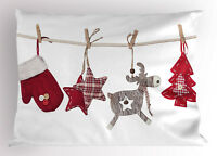 Christmas Pillow Sham Retro Items on Rope King Size Pillowcase 36 x 20 Inches