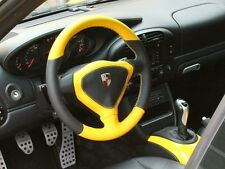 Porsche 996 986 extra thick leather steering wheel wrap color leather alcantara