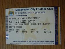 Billete De 11/01/2003: Manchester City v Leeds United (plegado y números señaló en Ba
