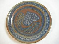 "Vintage Stoneware Art Pottery Blue/Brown Plate, 8"" Diameter"