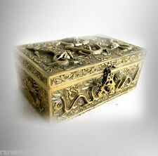 Oriental vintage cast brass lidded box with dragon designs - FREE SHIPPING