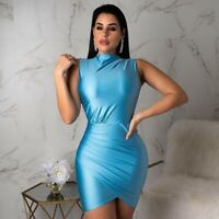 New Women Sleeveless Mock Neck Casual Pleated Bodycon Cocktail Party Mini Dress