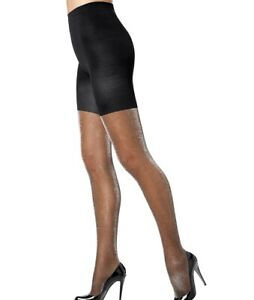 Spanx NEW Silver Black Women's Size A Luxe Tight End Metallic Tights $32 #023