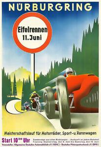 Nürburgring  Eifelrennen Motorbike Bike Auto Automobile Car Race Poster Print