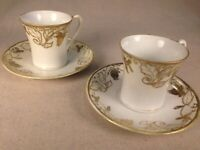 VG Hand-Painted Nippon Morimura Bros. Gold White Porcelain 2 Cups & Saucers 1911