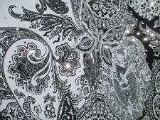 3 yards stretch spandex lycra fabric paisley print silver sequins dots