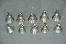 10 Pc Old Brass Handcrafted Small Fine Quality Cow Bells , Rich Patina