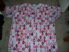Scrub Hq Pink Breast Cancer Uniform Scrub Top Size Medium