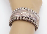 MEXICO 925 Sterling Silver - Vintage Shiny Fluted Trim Cuff Bracelet - B8739