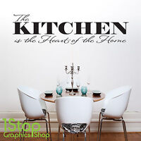 THE KITCHEN IS THE HEART OF THE HOME WALL STICKER QUOTE - WALL ART DECAL X179