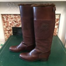 CHANEL Brown Leather & Fur Equestrian Riding Boots - size 42