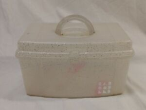 "VTG Caboodles Make up Nail Box White Sparkles 9"" handle 2720"