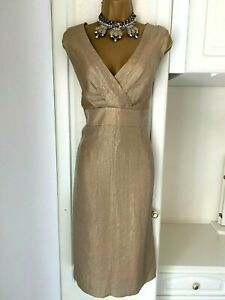 Betty Jackson size uk 14 Beautiful lined gold color occasion dress bust 38""