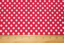 Red/white Polka-dot Lycra/Spandex 4 way stretch Fabric By The 1/2 Yard