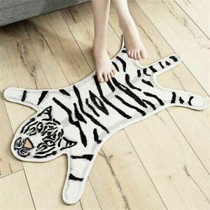 White Tiger Print Faux Fur Rug Animal Non-slip Bath Mat Carpet Floor Mat UK