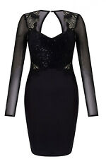New LIPSY Black Sequin Applique Lace Long Sheer Sleeve Bodycon Dress 10 16 £80