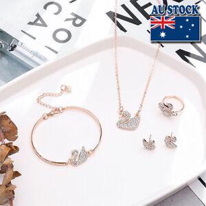 18K White/Rose Gold Plated CZ Crystal Swan Earring Ring Bracelet Necklace Set