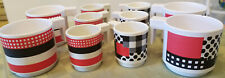 10 Melamine mugs, from 1960's, made by Meyer Kahn in Argentina