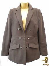 MANGO Ladies Size L 10 12 Brown Smart Casual 80% Wool Blend Blazer Jacket Coat