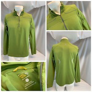 Mountain Hard Wear Pullover M Men Green ¼ Zip Poly Lycra No Flaws YGI C0-676