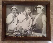 """THREE STOOGES WITH DENTURES-VINTAGE 11""""x9"""" WOOD FRAMED PHOTO-EXCELLENT CONDITION"""