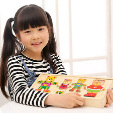 2018 Wooden Baby Bear Changing Clothes Puzzle Set Children Kids Educational Toys