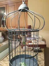 Large Decorative Antique Vintage Metal Bird Cage, blue