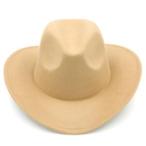 Child Boy Girl Fashion Western Wide Brim Cowboy Hat Winter Felt Fedora Jazz Cap