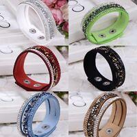Fashion Faux Leather Wrap Wristband Cuff Punk Crystal Rhinestone Bracelet Bangle