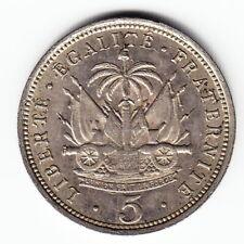HAITI 5 centimes 1904 KM53 Cu-Ni 2-yr type Waterbury KEY DATE - RARE THIS NICE !